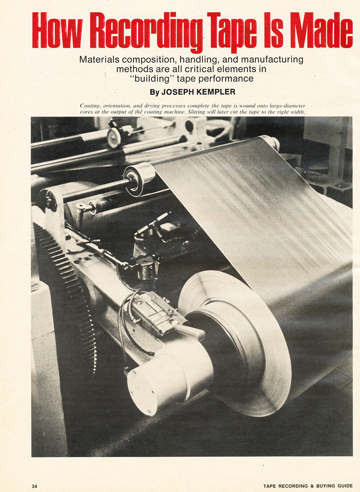 1974 article on how reel to reel recording tape is manufactured in Reel2ReelTexas.com's vintage recording collection
