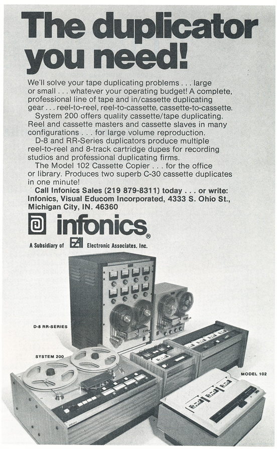 1974 ad for Infonics in Reel2ReelTexas.com's vintage recording collection