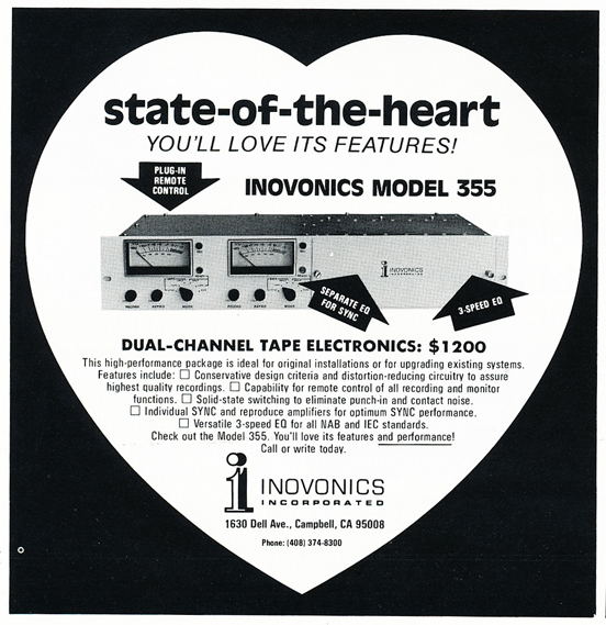 1974 ad for Inovonics in Reel2ReelTexas.com's vintage recording collection