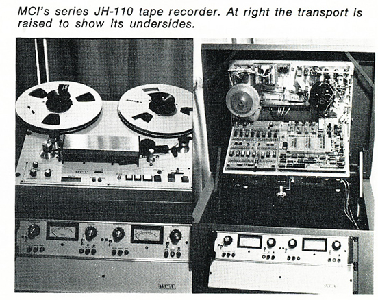 1974 photo of the MCI JH-110 professional reel to reel tape recorder in Reel2ReelTexas.com's vintage recording collection