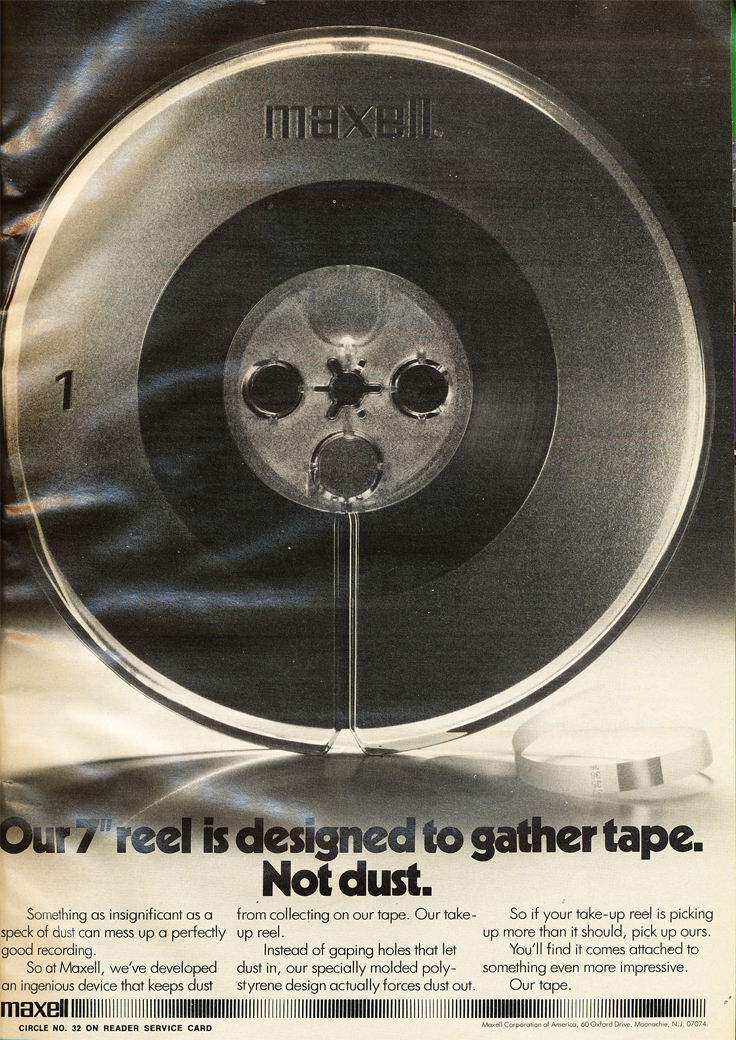 1974 ad for maxell reel recording tape in Reel2ReelTexas.com's vintage recording collection