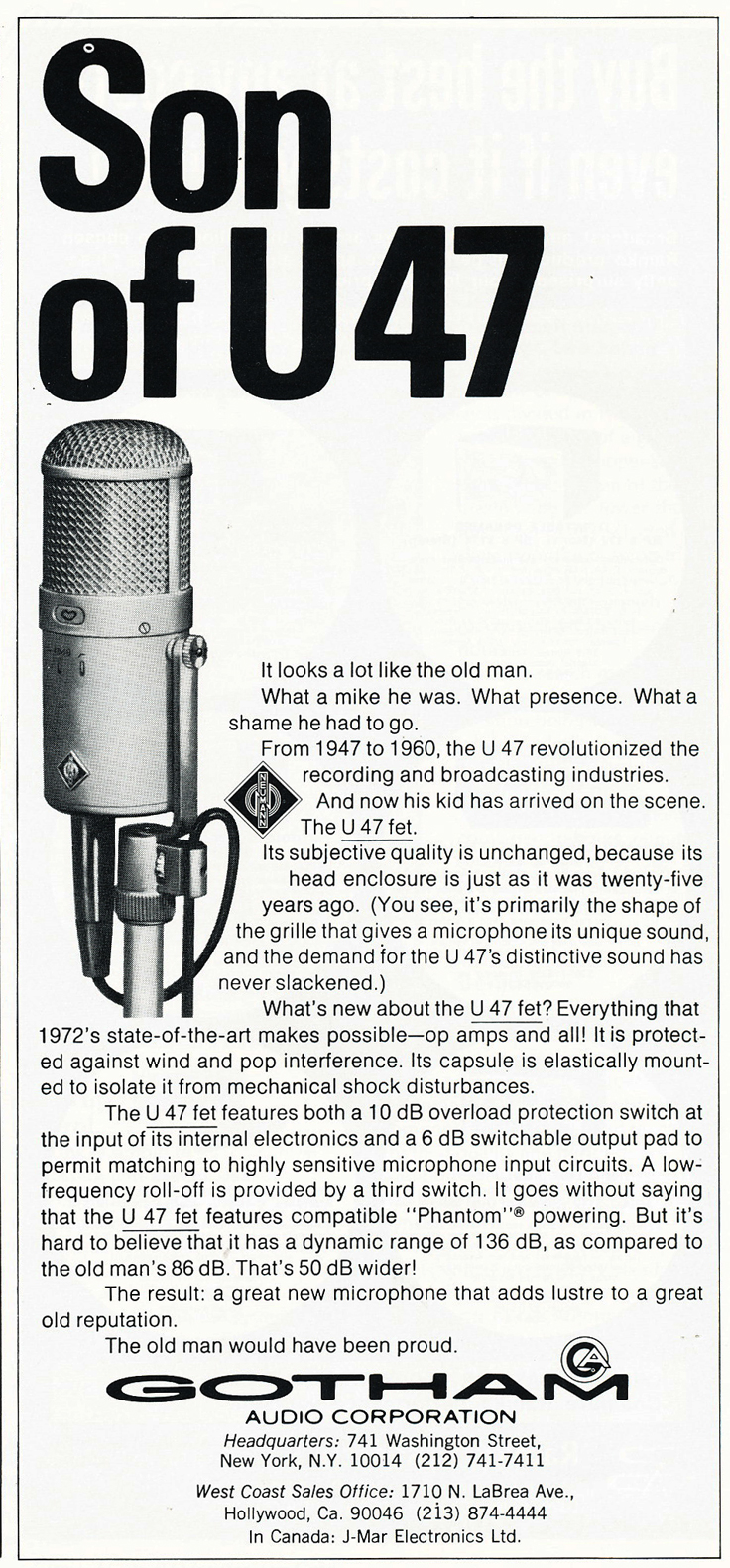 1974 Gothom ad for the Neumann U47 microphone  in Reel2ReelTexas.com's vintage recording collection