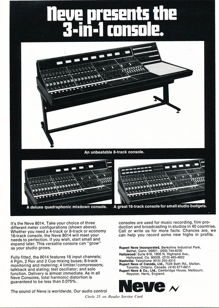 1974 ad for Neve recording colsoles in Reel2ReelTexas.com's vintage recording collection