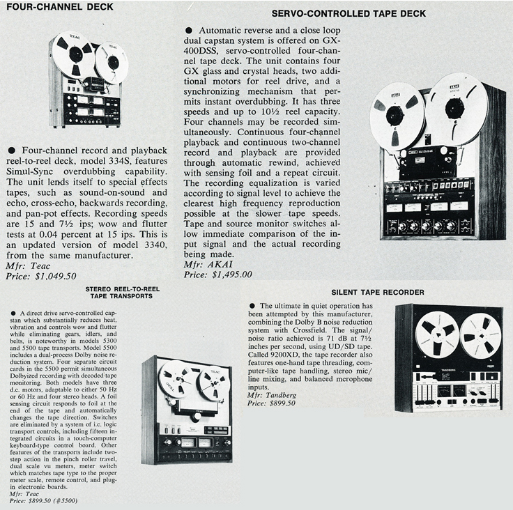 Listing of New Products in 1974's db magazine including the Teac A-3340, Akai GX-400SSD, Teac A-5500, and the Tandberg 9200SX in Reel2ReelTexas.com's vintage recording collection