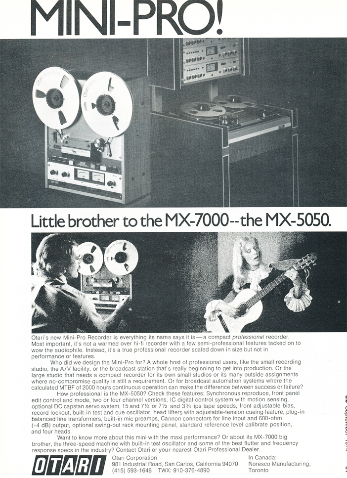 1974 ad for Otari MX-7000 and MX-505 professional reel to reel tape recorders  in Reel2ReelTexas.com's vintage recording collection