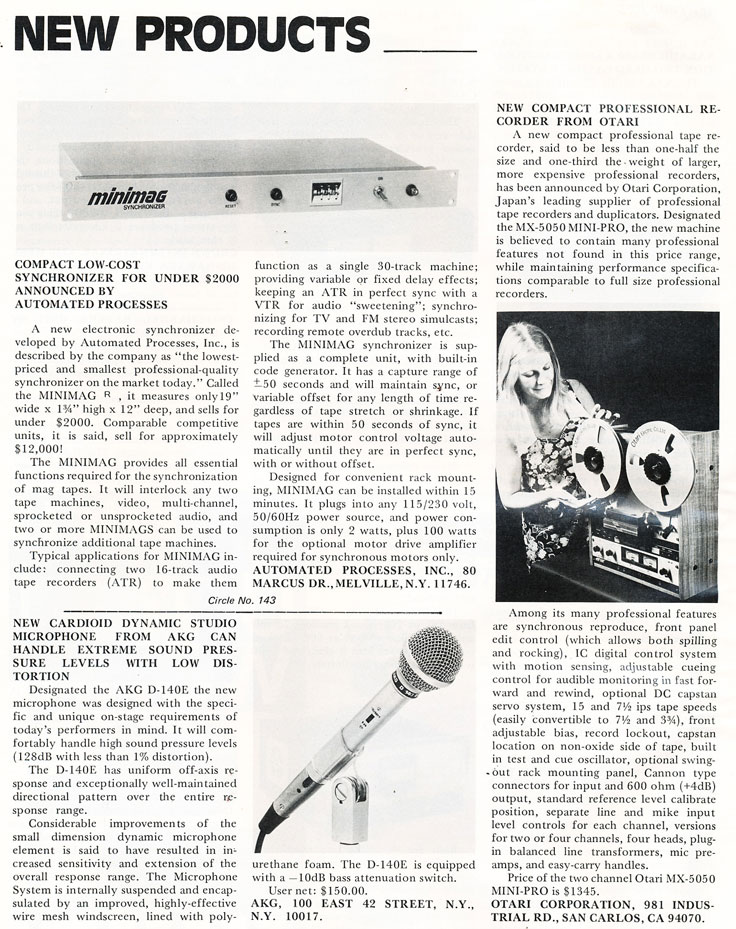 1974 listing of new products including the Otari MX-5050 Mini Pro professional reel to reel tape recorder in Reel2ReelTexas.com's vintage recording collection