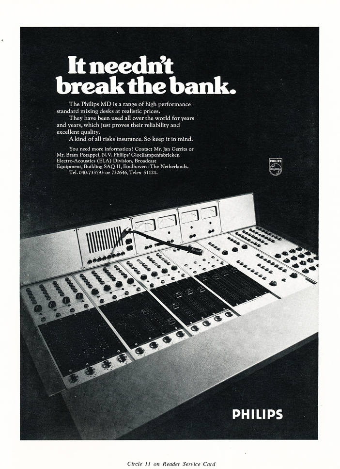 1974 ad for Philips recording mixers in Reel2ReelTexas.com's vintage recording collection