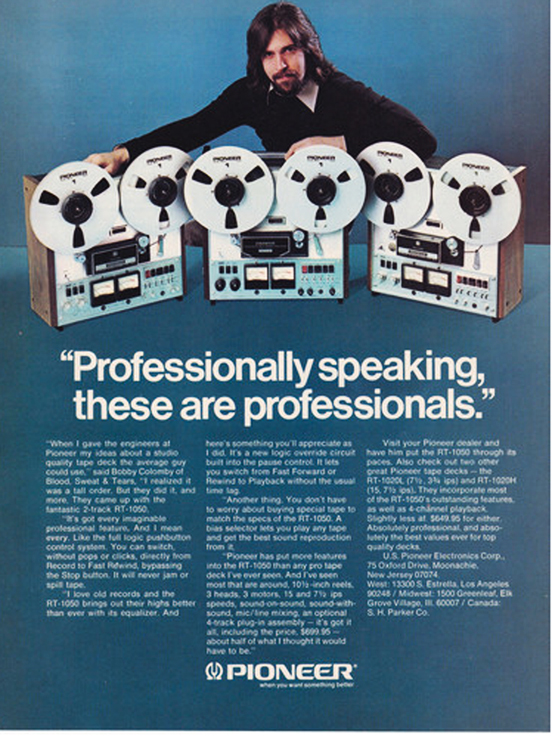 1974 Pioneer reel to reel tape recorder ad in Phantom Productions vintage recording collection