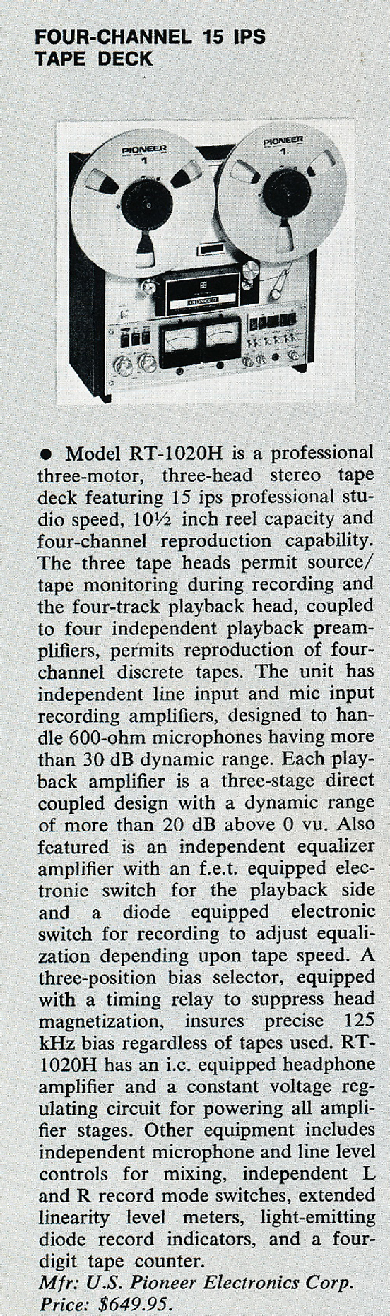 1974 ad for the Pioneer RT-1020H reel to reel tape recorder ad in Phantom Productions vintage recording collection