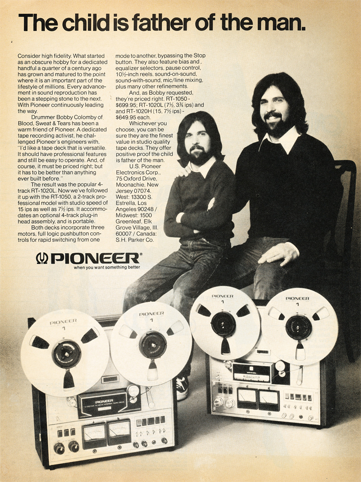 1974 ad for the Pioneer RT-1050 and other reel to reel tape recorders in Reel2ReelTexas.com's vintage recording collection