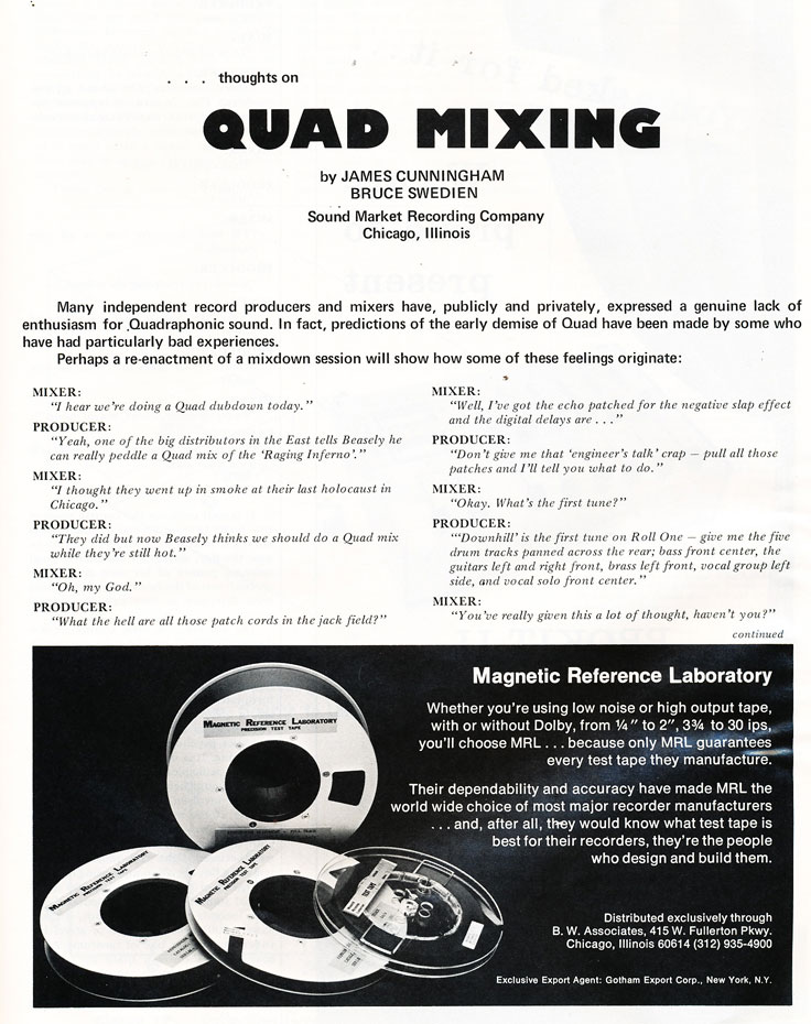 1974 ad for Quad tapes in Reel2ReelTexas.com's vintage recording collection