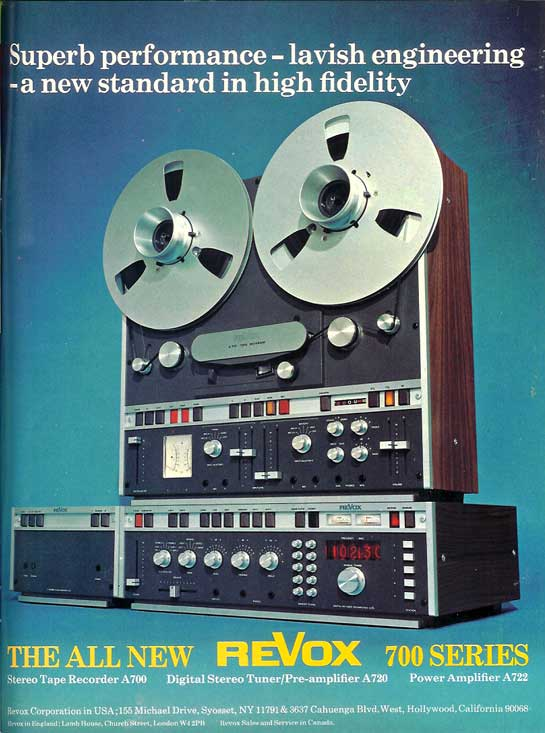 1974 ReVox A700 reel to reel tape recorder ad in Phantom Productions vintage recording collection