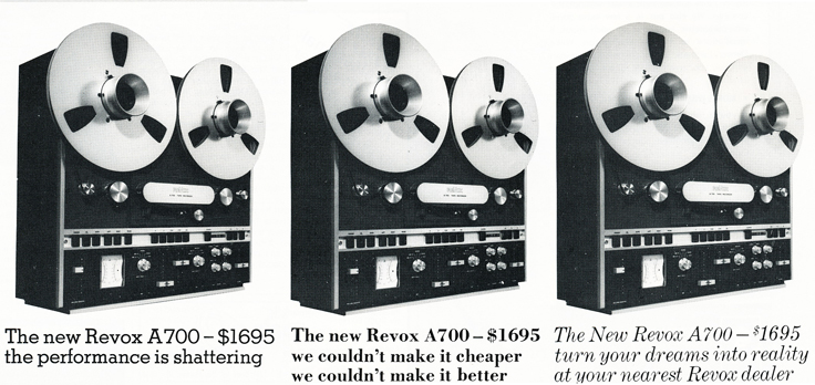 1974 ReVox A700 reel to reel tape recorder ad in Reel2ReelTexas.com's vintage recording collection