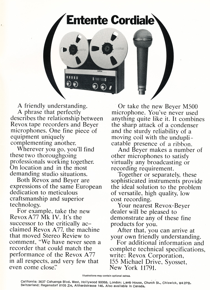 1974 ReVox A77  reel to reel tape recorder & Beyer microphone ad in Reel2ReelTexas.com's vintage recording collection