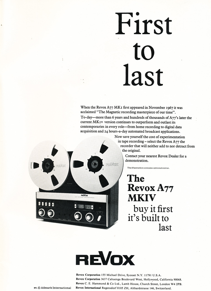 1974 ReVox A77 MKIV  reel to reel tape recorder ad in Reel2ReelTexas.com's vintage recording collection