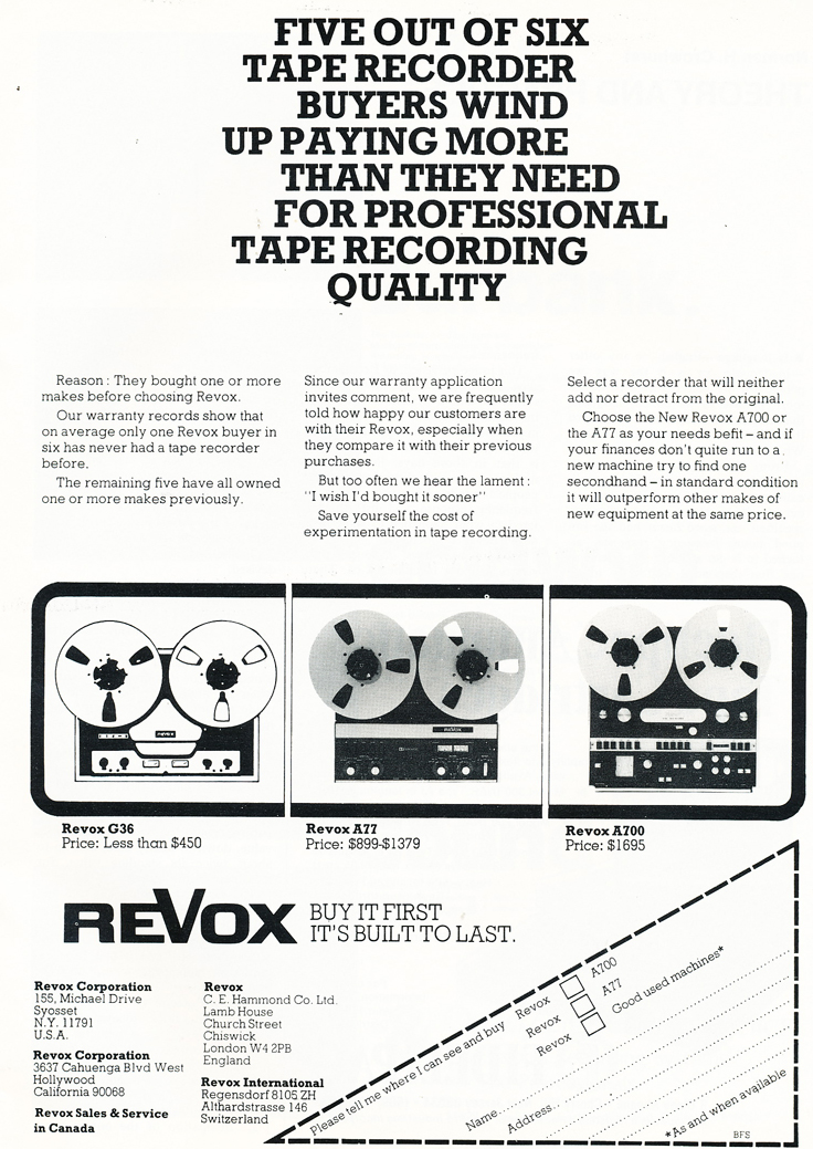 1974 ReVox G36, A77 & A700 reel to reel tape recorder ad in Reel2ReelTexas.com's vintage recording collection