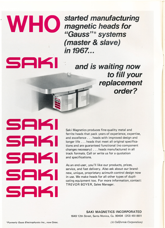 1974 ad for Saki reel tape recorder heads in Reel2ReelTexas.com's vintage recording collection