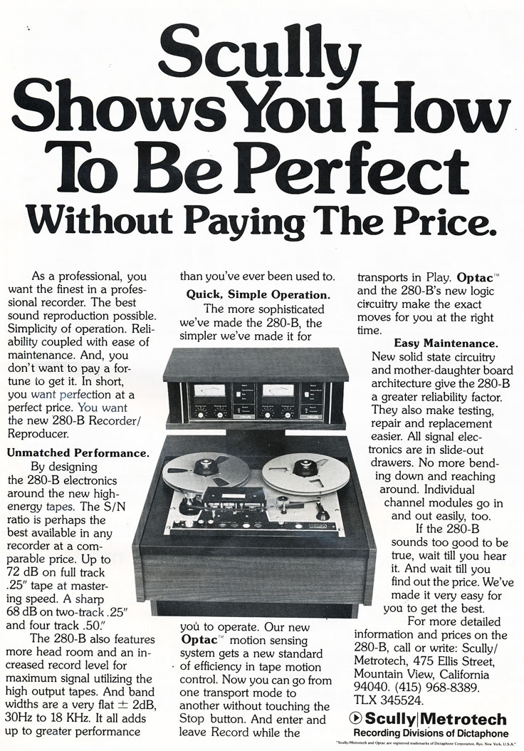 1974 ad for the Scully 280-B professional reel to reel tape recorder in Reel2ReelTexas.com's vintage recording collection