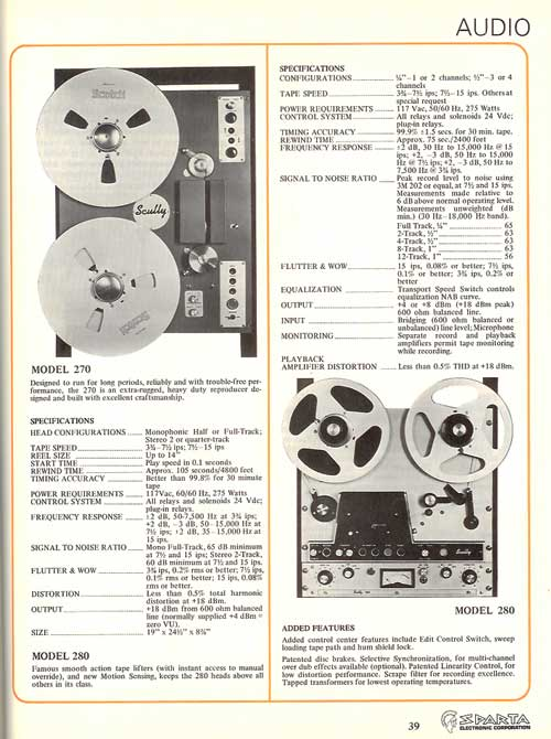 1974 Sculy reel to reel tape recorder ad in Phantom Productions vintage recording collection