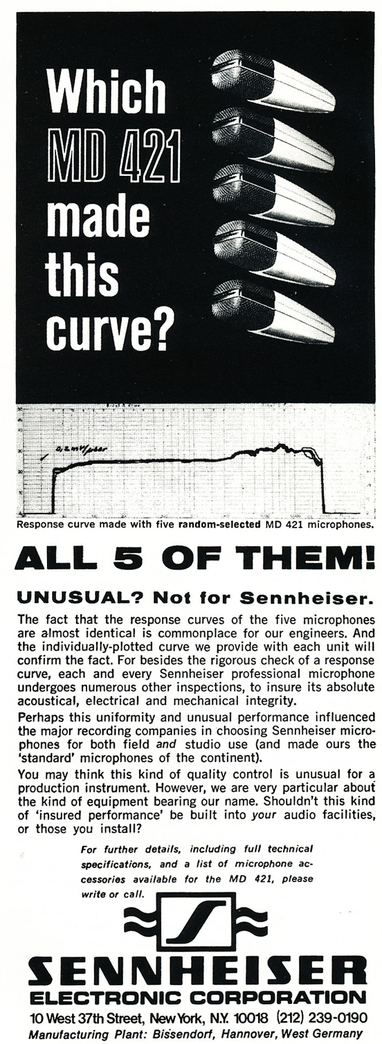 1974 ad for the Sennheiser MD421 microphone  in Reel2ReelTexas.com's vintage recording collection