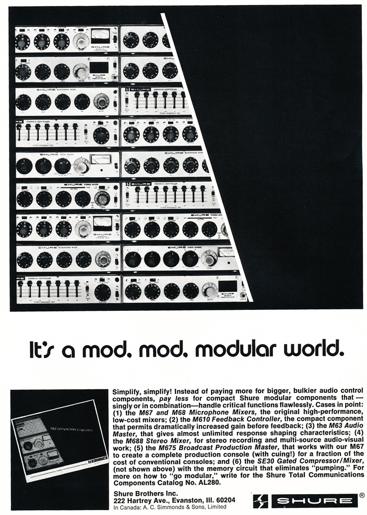 1974 ad for the Shure mixers in Reel2ReelTexas.com's vintage recording collection