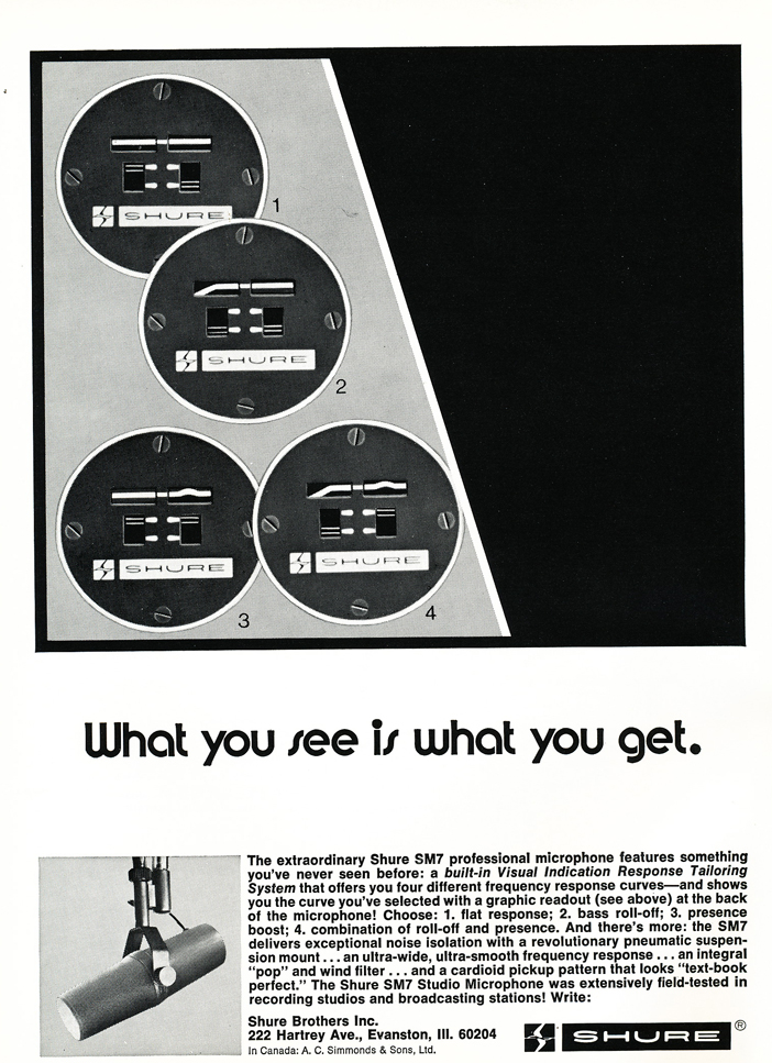 1974 ad for the Shure SM7 microphone in Reel2ReelTexas.com's vintage recording collection