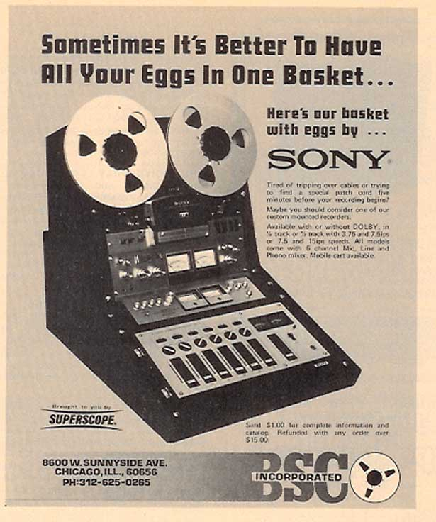 1974 Sony reel to reel tape recorder, mixer and console ad in Phantom Productions vintage recording collection