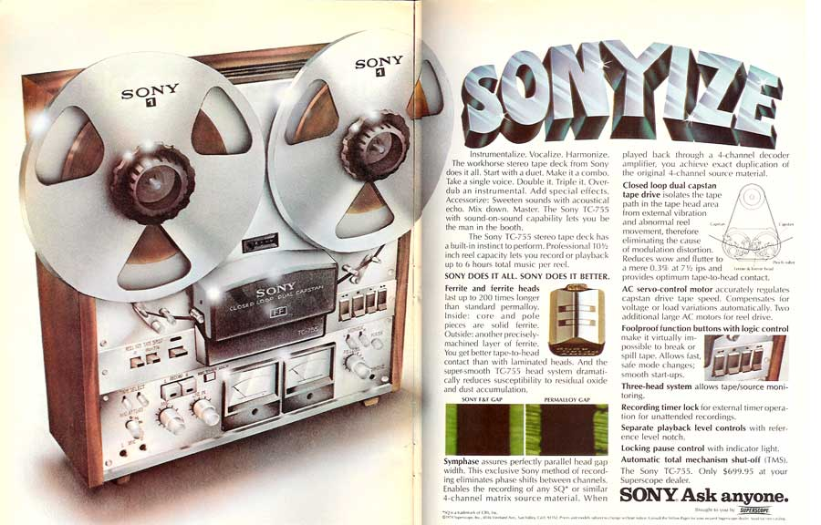 1974 Sony TC-755 reel to reel tape recorder ad in Phantom Productions vintage recording collection