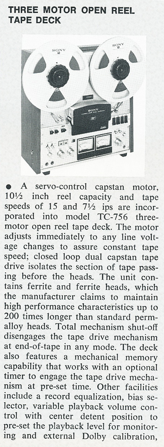 Listing of New Products in 1974's db magazine including the Sony TC-755 in Reel2ReelTexas.com's vintage recording collection