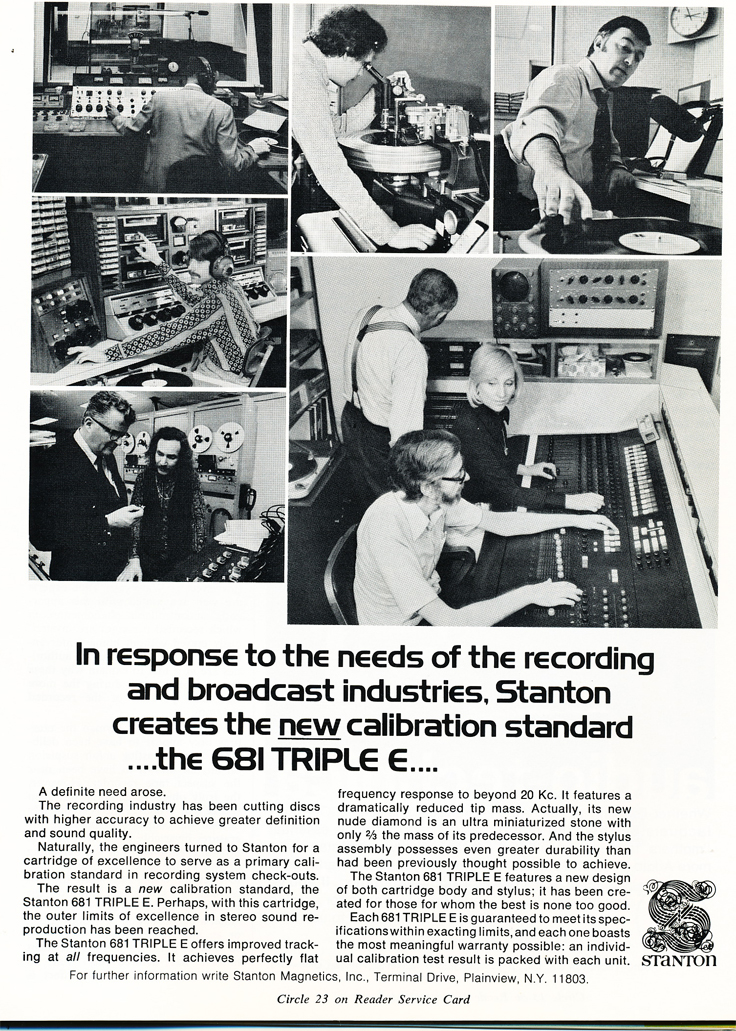1974 ad for Stanton audio products in Reel2ReelTexas.com's vintage recording collection