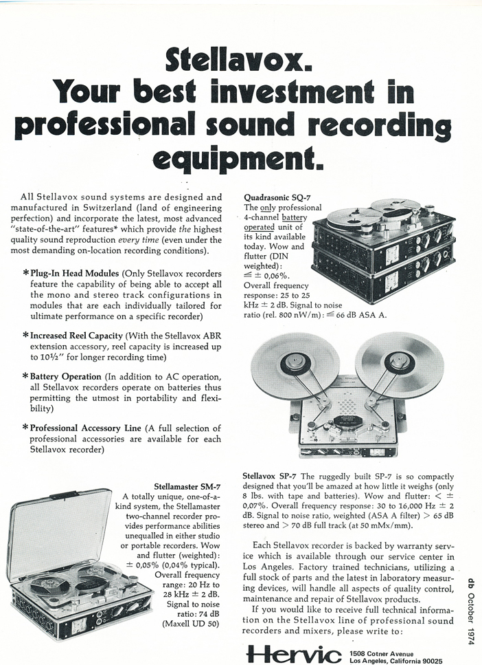 1974 ad for StelleVox professional  reel to reel tape recorders in Reel2ReelTexas.com's vintage recording collection