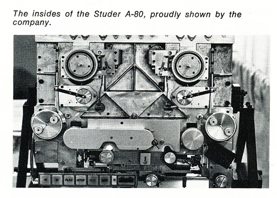 1974 photo of the inside of the Studer A80 professional reel to reel tape recorder in Reel2ReelTexas.com's vintage recording collection