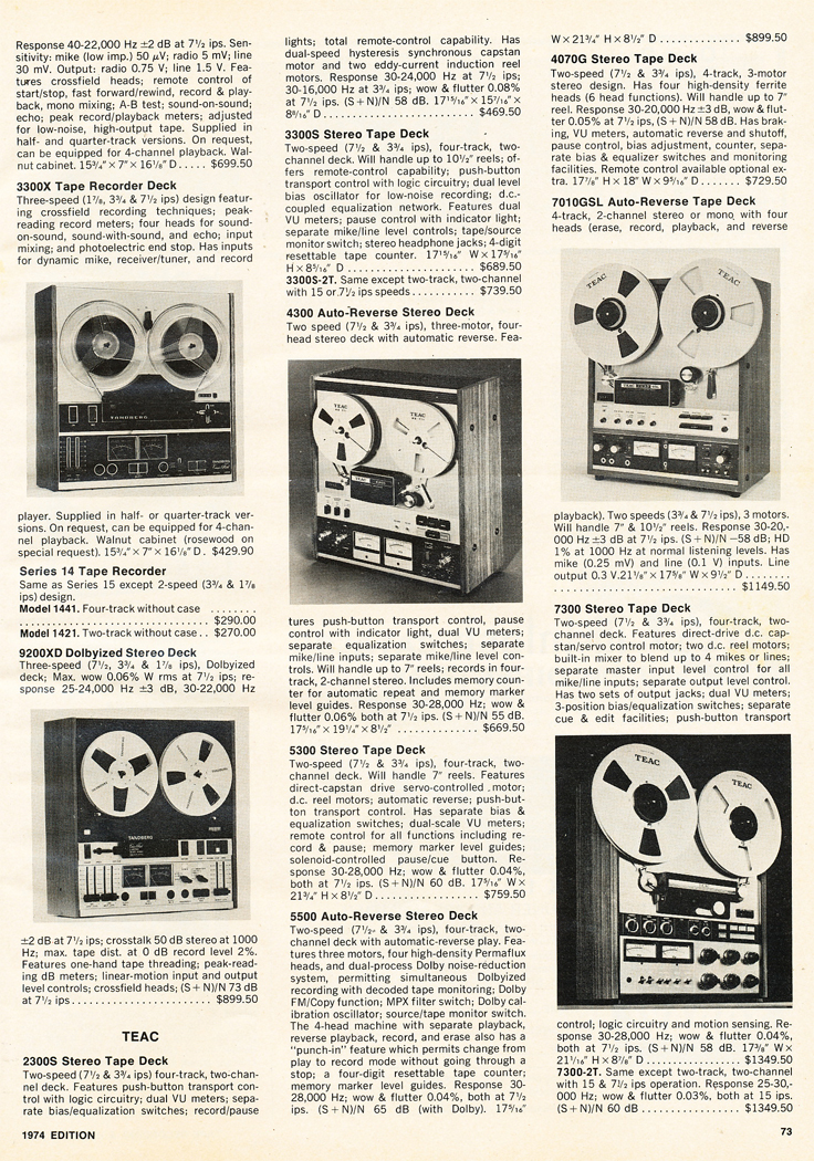 1974 list of available reel to reel tape recorders in Reel2ReelTexas.com's vintage recording collection