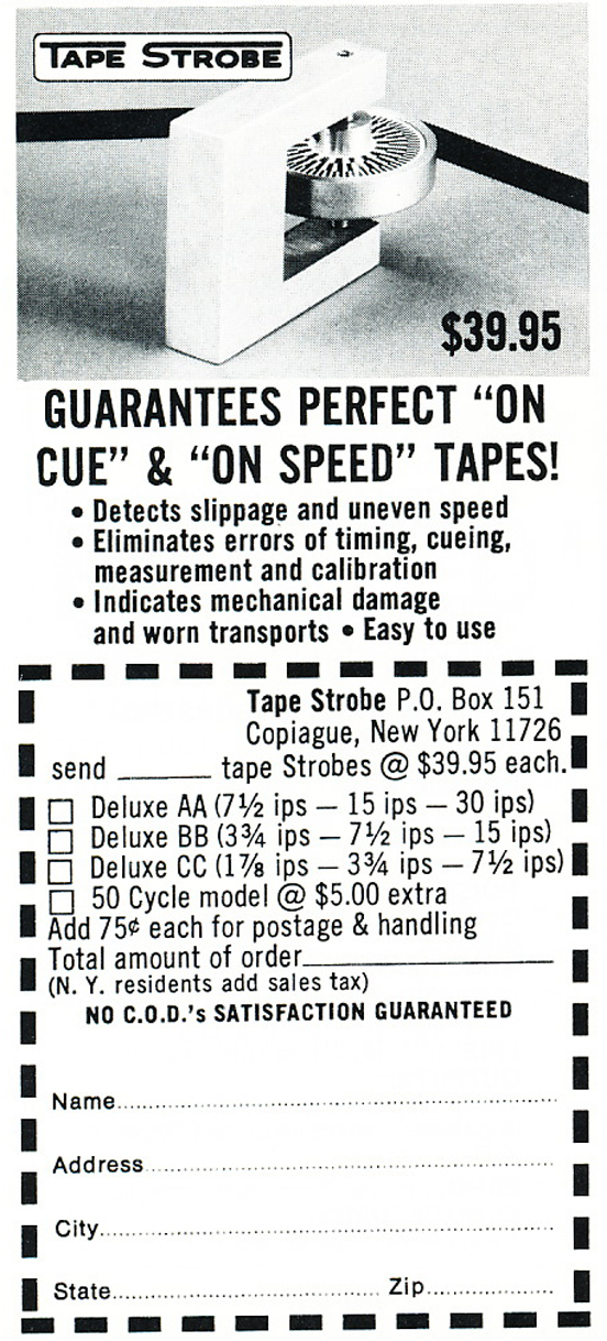 1974 ad for the TapeStrobe accessory in Reel2ReelTexas.com's vintage recording collection