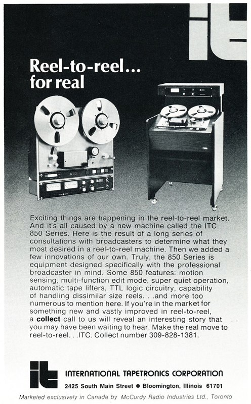 1974 ad for the Tapetronics professional reel to reel tape recorder in Reel2ReelTexas.com's vintage recording collection