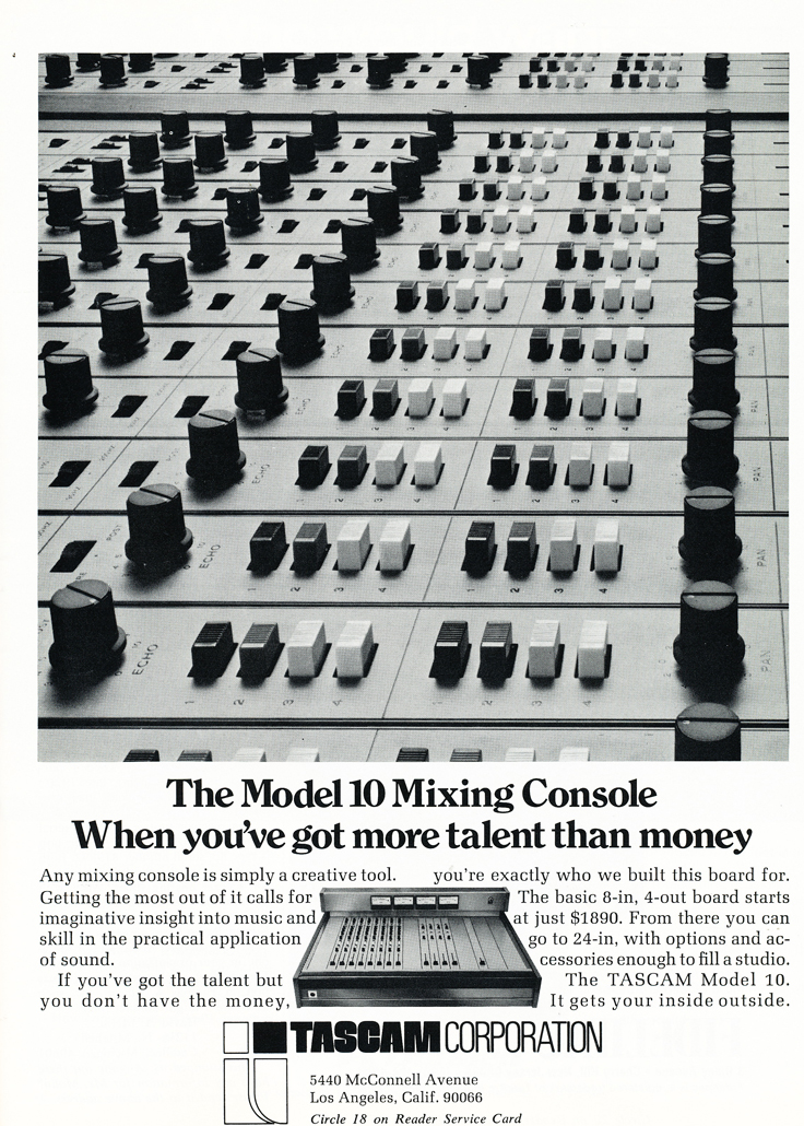 1974 ad for the Teac Tascam Model 10 mixing console in Reel2ReelTexas.com's vintage recording collection