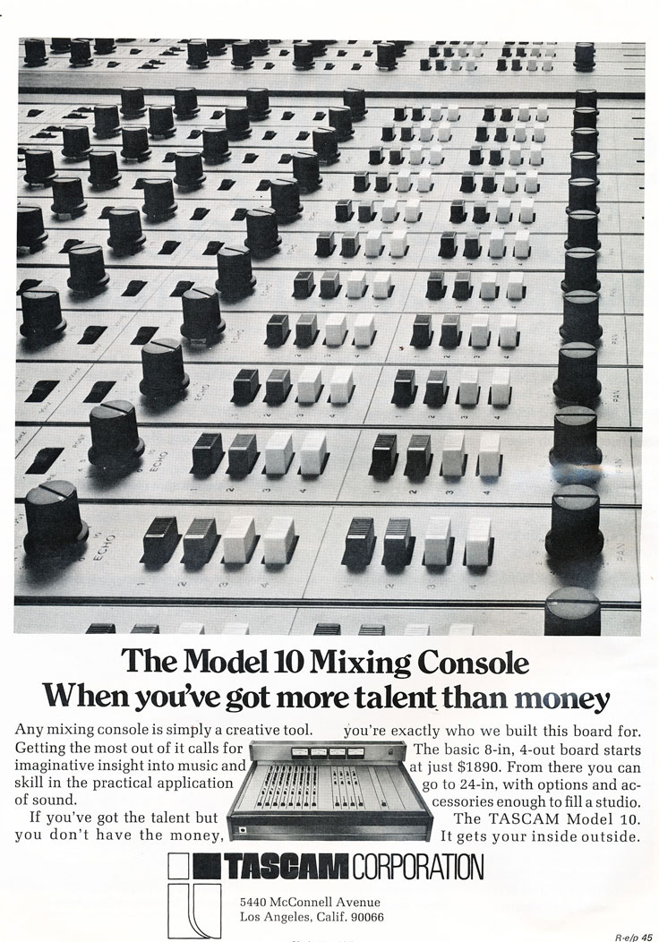 1974 Tascam Model 10 audio console ad in Phantom Productions vintage recording collection