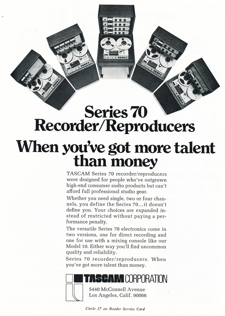 1974 ad for the Teac Tascam Series reel to reel professional tape recorders in Reel2ReelTexas.com's vintage recording collection