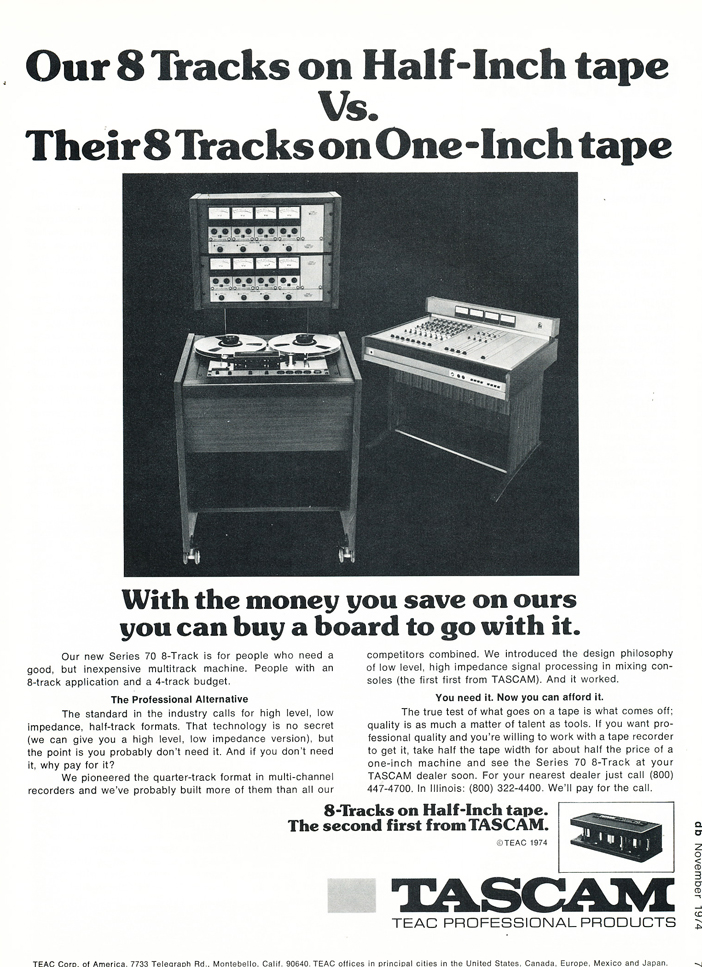 "1974 ad for the Teac Tascam Series 70 1/2"" 8 track recorder &  Model 10 mixing console in Reel2ReelTexas.com's vintage recording collection"