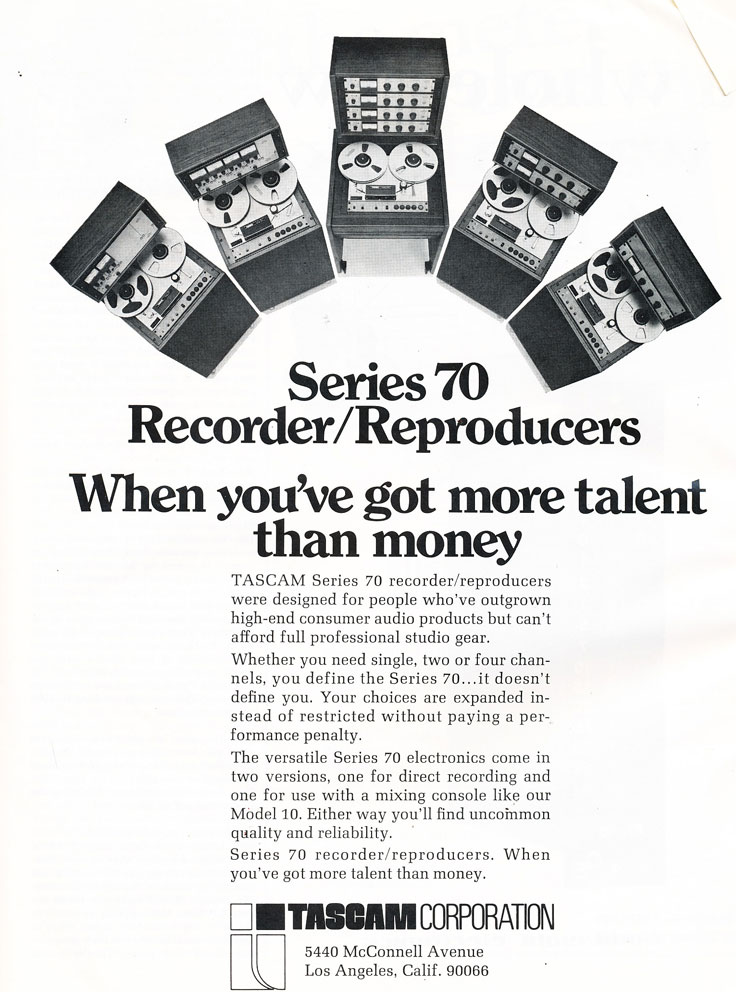 1974 ad for the Tascam Series 70 professional reel to reel tape recorders in Phantom Productions vintage recording collection