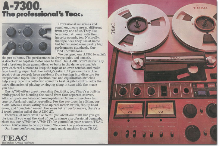 1974 review of the Teac A-7300 in Reel2ReelTexas.com's vintage recording collection