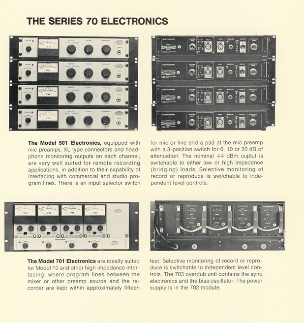 picture of Teac's Series 70 reel to reel recorder brochure in Phantom's collection