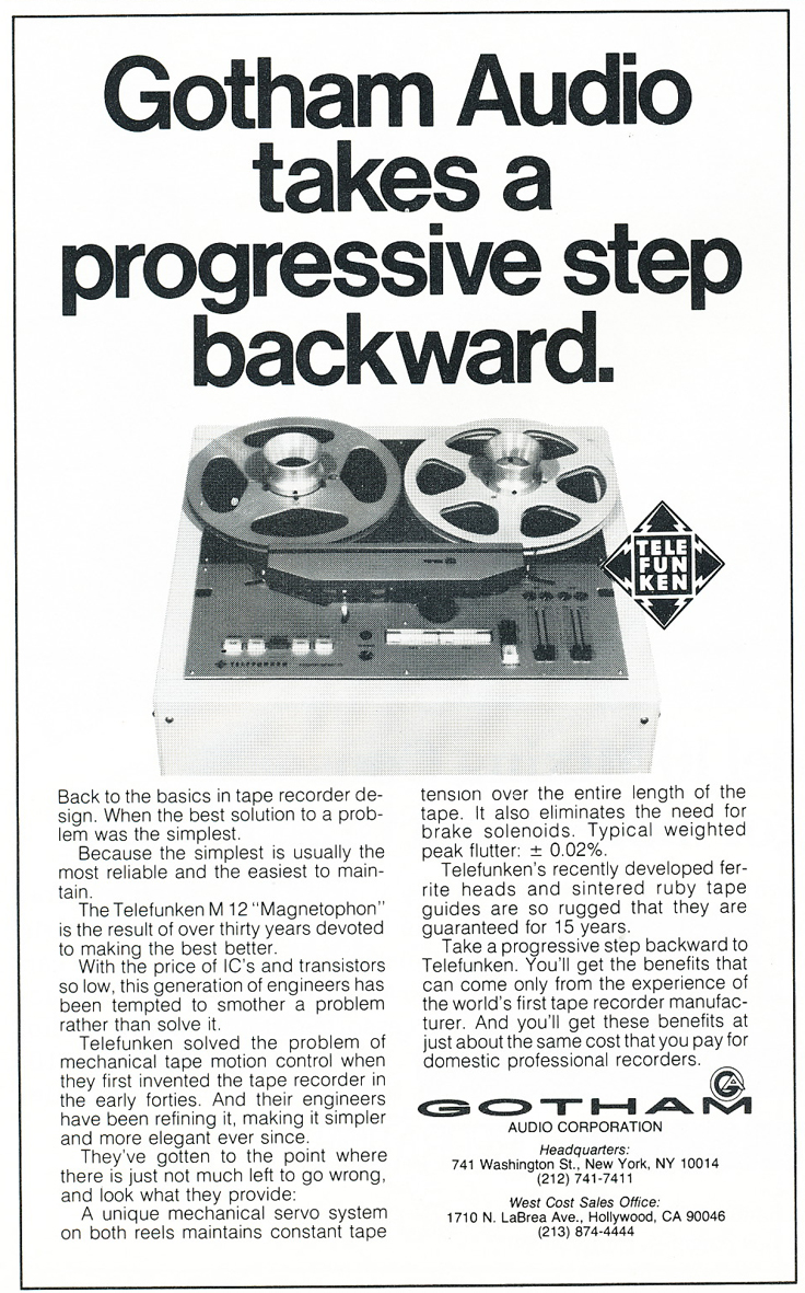 1974 Telefunken M 12 Magnetophon reel to reel tape recorder ad in Reel2ReelTexas.com's vintage recording collection