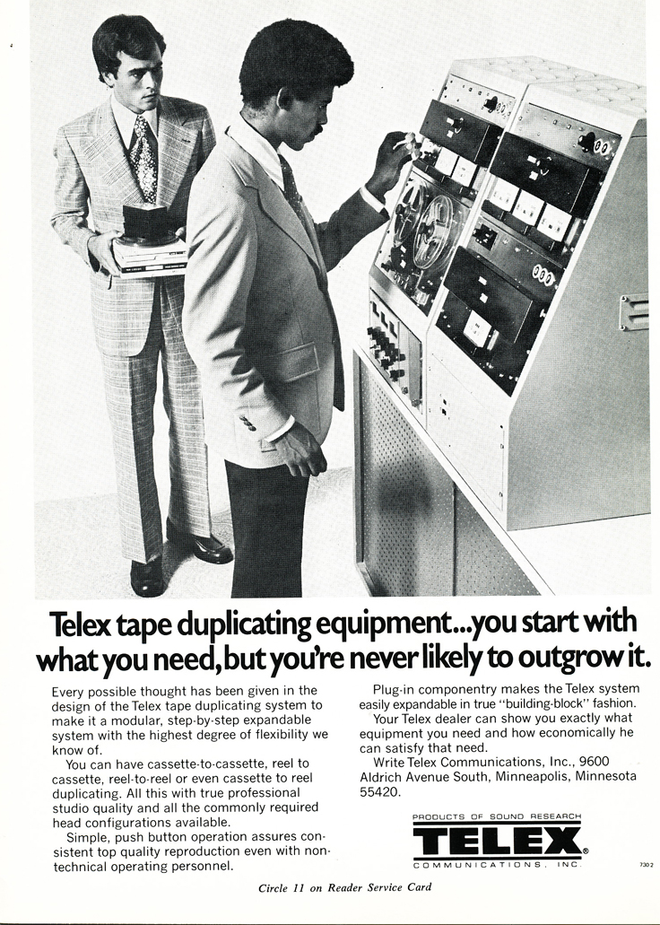 1974 Telex reel to reel tape recorder ad in Reel2ReelTexas.com's vintage recording collection