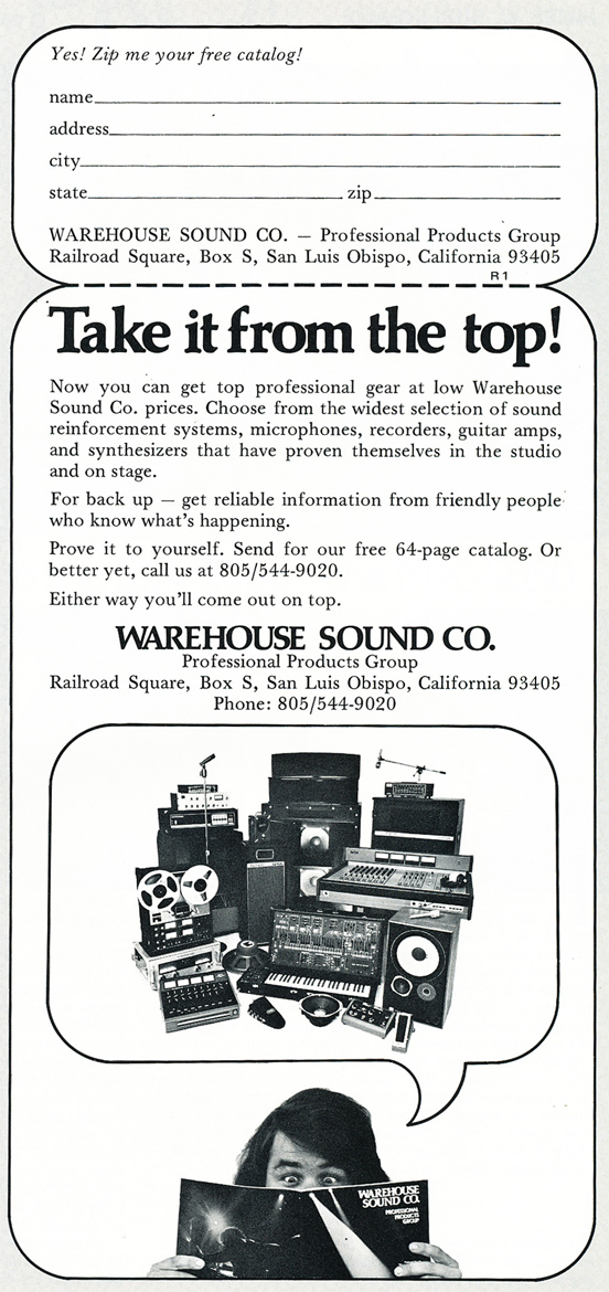 1974 ad for Warehouse Sound in Reel2ReelTexas.com's vintage recording collection