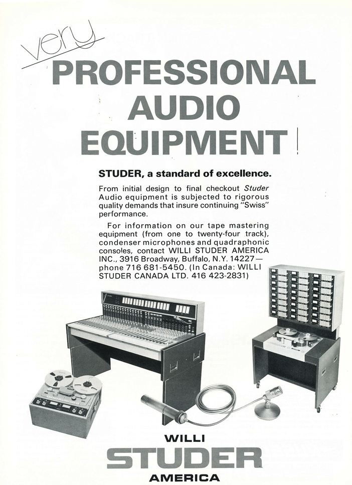 1974 ad for Willi Studer professional recording consoles and reel to reel tape recorders in Reel2ReelTexas.com's vintage recording collection
