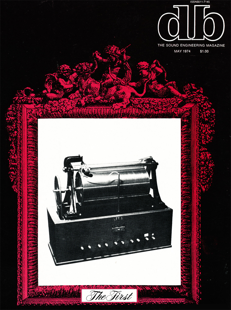 May 1974 cover of db magazine showing Valdemar Poulsen's magnetic Telegrafon 1898 recorder