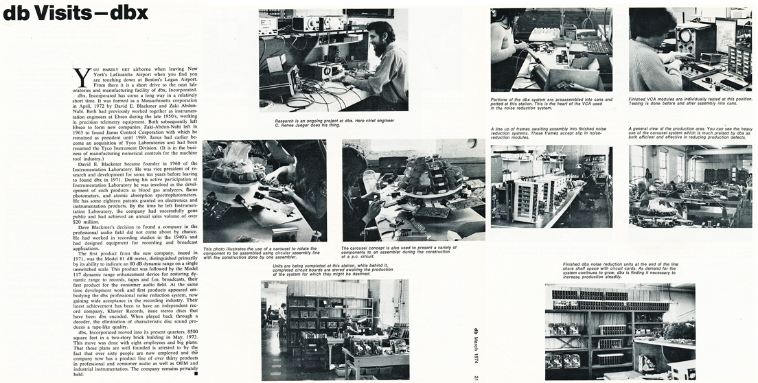 1974 article about db magazine visiting the offices of dbx  in Reel2ReelTexas.com's vintage recording collection