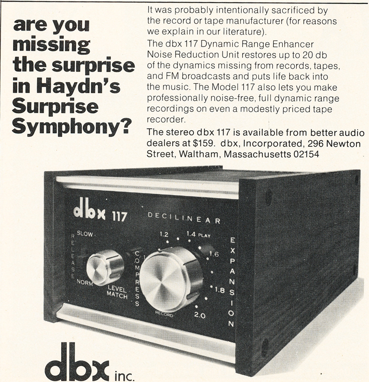 1974 ad for the dbx 117 noise reduction unit in Reel2ReelTexas.com's vintage recording collection