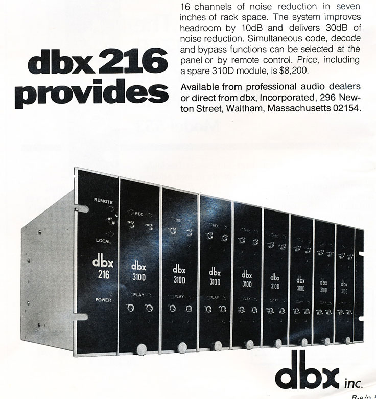 1974 ad for the dbx 216 noise reduction units in Phantom Productions' vintage recording